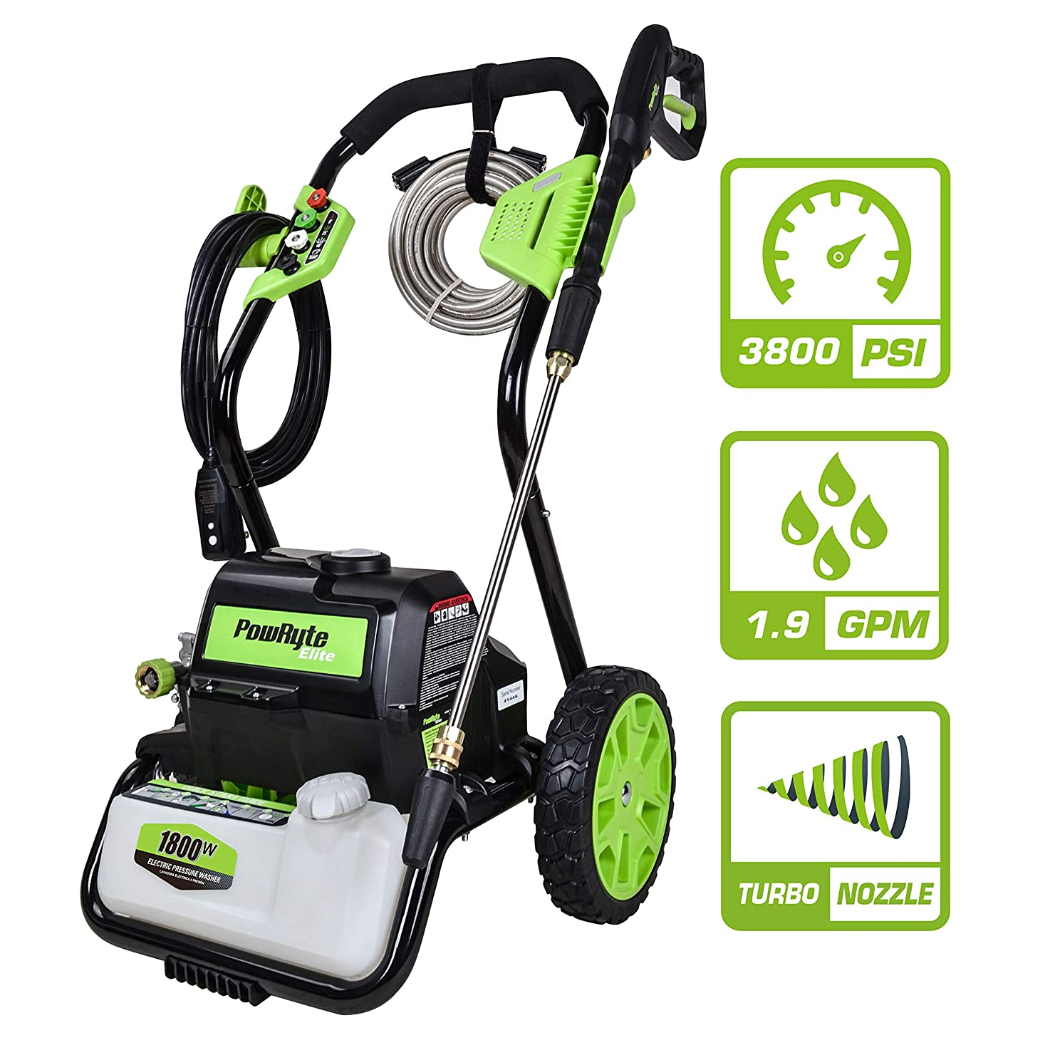 PowRyte Elite 3800 PSI 1.90 GPM Electric Pressure Washer, Electric Power Washer, Open Frame