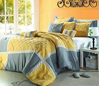 Chic Home Quincy 8 Piece Comforter Set Size: Queen, Color: Yellow