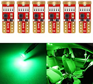 Phinlion 194 Green LED Bulb Super Bright 168 175 2821 T10 15-SMD 4014 Chipsets Wedge LED Replacement Bulbs for Dome Map Re...