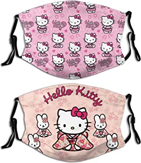 2pcs Hello Kitty With Filter Face Cover Reusable Bandana Washable Scarf For Men Women Teens Adults
