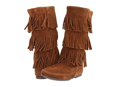 Minnetonka Calf Hi 3-Layer Fringe Boot (Dusty Brown Suede) Women