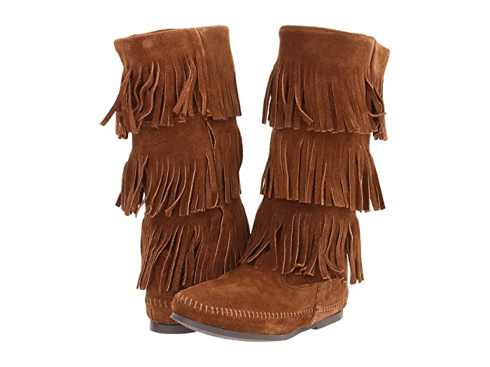 Minnetonka  Calf Hi 3-Layer Fringe Boot (Dusty Brown Suede) Womens Pull-on Boots