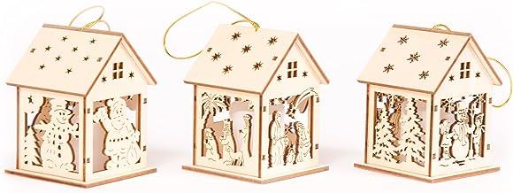 WeRChristmas Pre-Lit Hanging Houses Bauble Christmas Tree Decoration, 10 cm - Multi-Colour, Set of 3
