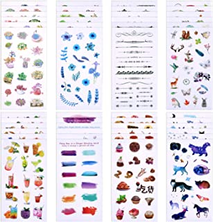 Coopay 48 Sheets Journal Decorative Sticker Collection Valuable Set (48 Designs) Plant Flower Fish Food Drink Colourful Theme for Scrapbooking, Calendars, Arts, Kids DIY Crafts, Album, Bullet Journals