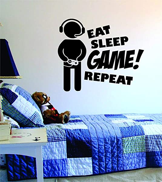 Eat Sleep Game Repeat V2 Original Wall Decal Sticker Vinyl Art Bedroom Living Room Decor Decoration Teen Quote Inspirational Boy Girl Gamer Gaming Video Games Retro Old School Controller Cool PC