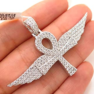 925 Sterling Silver Swarovski Crystals Angel Wings & Ankh Cross Pendant Jewelry Making Supply by Wholesale Charms
