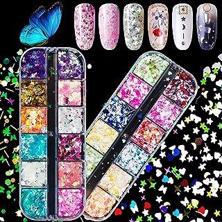 EBANKU 2 Boxes 3D Nail Art Glitter Sequins, Multiple colors Laser Butterfly Star Heart Moon Nail Sequin Splarkly Paillette...