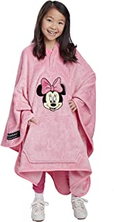 Jay Franco Disney Minnie Mouse Bows Throwbee – 2-in-1 Wearable Kids Plush Throw Blanket Poncho - Fade Resistant Polyester, 50