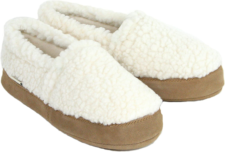 Polar Feet Women's Perfect Mocs Slippers in White Berber