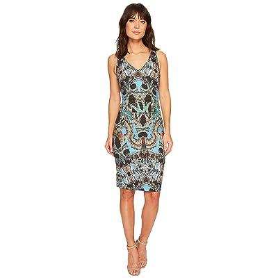 Nicole Miller Double V-Neck Dress (Blue/Multi) Women