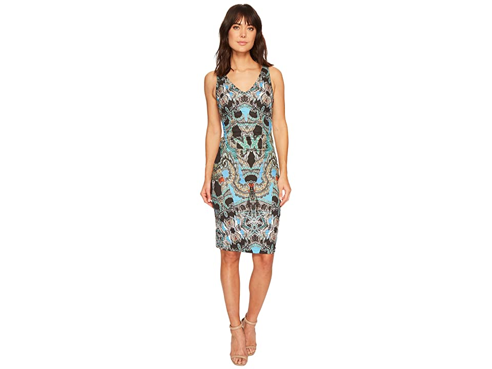 Nicole Miller Double V-Neck Dress (Blue/Multi) Women