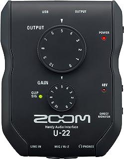 Zoom U-22 Handy Audio Interface, 2-Channel Portable USB Audio Interface, 1 XLR/TRS Input, Battery or Bus Powered, Phantom Power