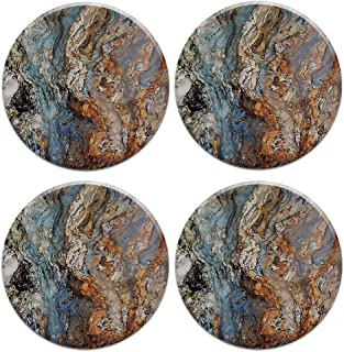 Caribou Round Ceramic Stone Coasters 4pcs Set, Mug Coffee Cup Place Mat Home Coasters for Hot & Cold Drinks, Picasso Marble