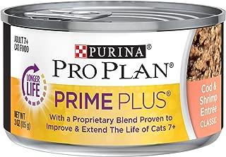 Purina Pro Plan Grain Free Senior Pate Wet Cat Food, PRIME PLUS Cod & Shrimp Entree - (24) 3 oz. Pull-Top Cans