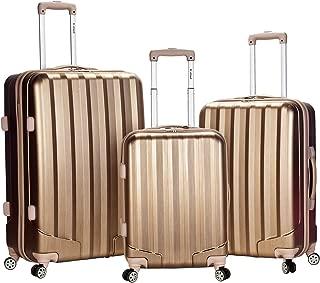 Rockland Luggage 3 Piece Metallic Upright Set, Bronze, Medium