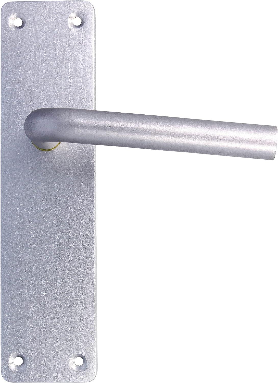 Amig - Juego de Manillas de Aluminio Plateadas con Placa Cuadrada y Asa Curva para Puertas de Paso y Entrada de de Interior y Exterior - 222 x 55 mm, Manija con Manivela Decorativa y Moderna
