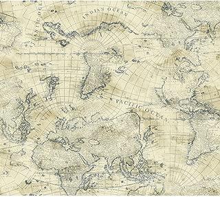 York Wallcoverings Nautical Living Coastal Map Removable Wallpaper, Marine Blue