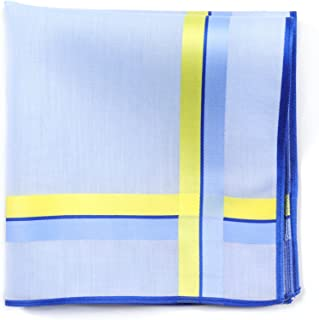 Lehner Switzerland Women's Blue Cotton Handkerchief with Blue/Yellow Satin Band Stripes