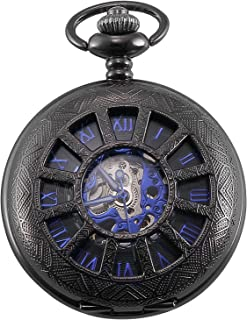 Carrie Hughes Men's Vintage Blue Hand Steampunk Skeleton Mechanical Pocket Watch with Chain Gifts CH105