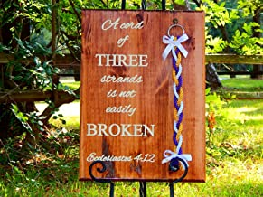 Cord of Three Strands Personalized Wedding Board Sign With detachable Unity Braids 24x17