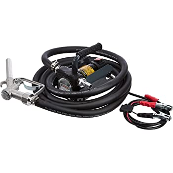 AmazonCommercial Heavy Duty Diesel Fuel Transfer Pump Kit Portable 10GPM/40LPM Electric Self-Priming DC 12V Includes Alligator Clamps, Aluminum Manual Nozzle, Delivery & Suction Hose w/Filter