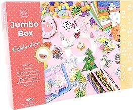 PepMelon - Jumbo Box Kit de manualidades Edición Celebración, 1000 piezas con guía de artesanía, goma eva brillante, pompones de colores, caja regalo para niñas y niños por Pascua, Navidad, cumpleaños