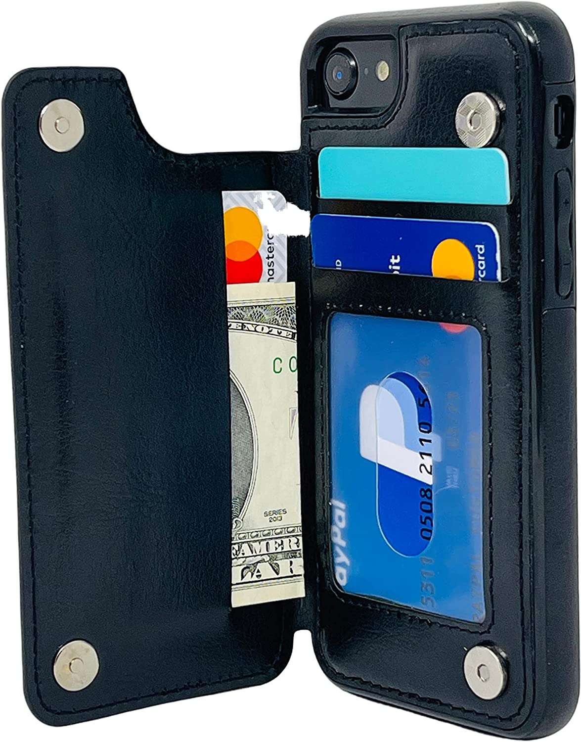 S-Tech Case for iPhone 7 Plus/iPhone 8 Plus (5.5 inch) Wallet Case with Card Holder Leather Kickstand Card Slots Case, Double Magnetic Clasp and Durable Shockproof Cover for Apple (Black)