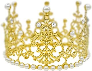 Pearl And Crystal Round Tiara Crown For Women&Baby Mini Princess Cake Crown Accessories