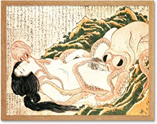 Hokusai Octopus Fishermans Wife Dreams Adult Japanese Art Print Framed Poster Wall Decor 12x16 inch