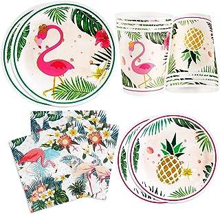 مجموعة لوازم حفلات أعياد الميلاد بتصميم طائر الفلامينغو، مجموعة أدوات مائدة للاستعمال مرة واحدة للفتيات، تتضمن أطباق حلوى ...