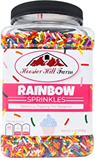 Hoosier Hill Farm Rainbow decorating Sprinkles, Large 2 lbs Jar