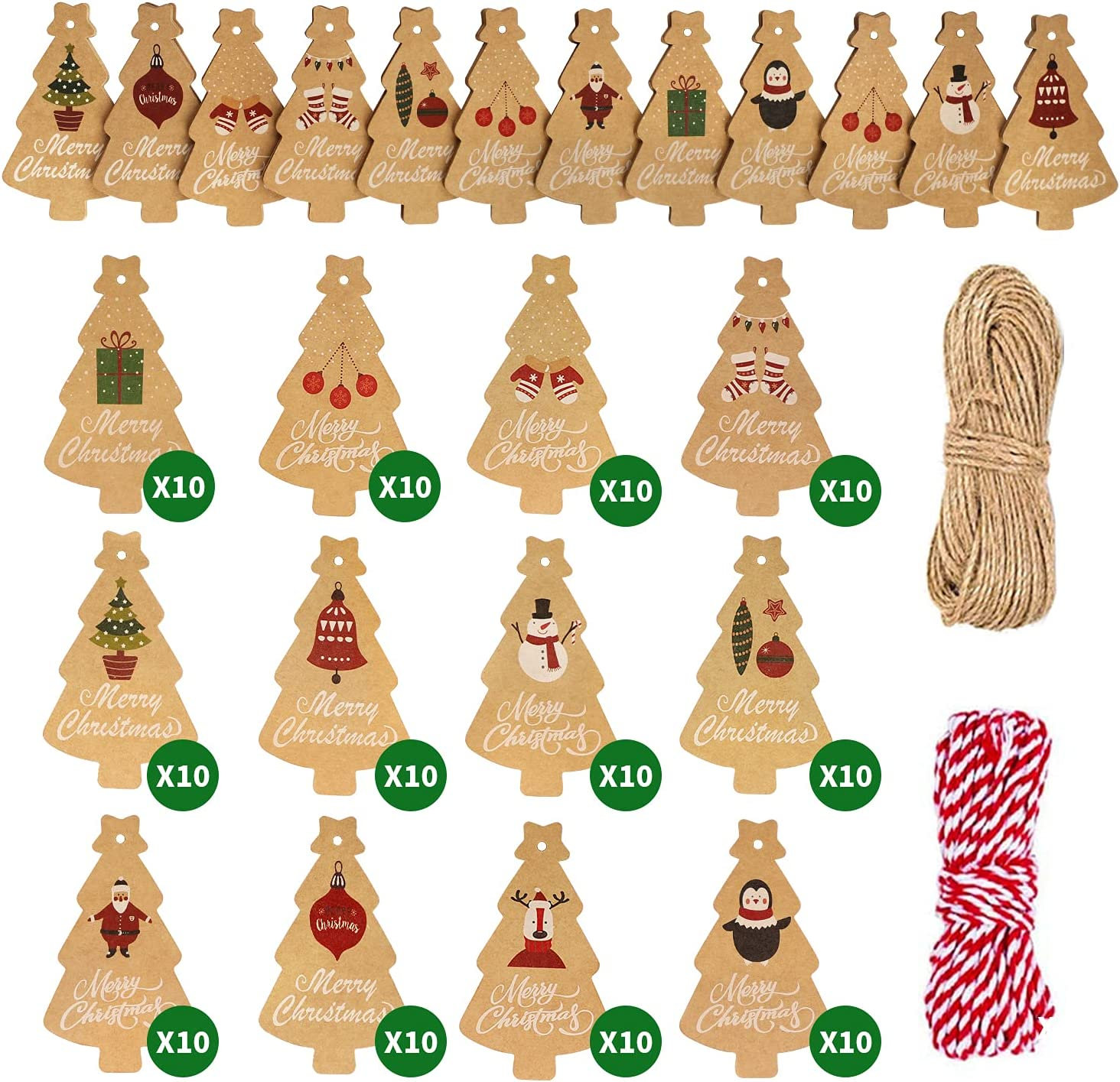 Viosmut Etiquetas de Regalo Navidad, 120 Piezas Etiquetas Papel Kraft, Chrismas Tags Colgantes con Cuerdas de 2 Rollo 10m Yute Perfecto para Manualidades Papel Regalo Navidad Decoración Arbol Navidad