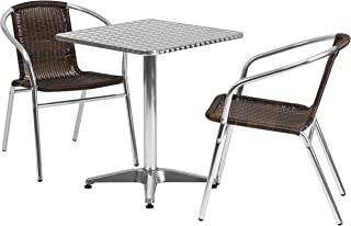 Flash Furniture 23.5'' Square Aluminum Indoor-Outdoor Table Set with 2 Dark Brown Rattan Chairs