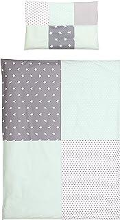 junto de ropa de cama para niño de ULLENBOOM ® menta gris (juego de 2 piezas: funda de almohada con patchwork y funda nórdica)
