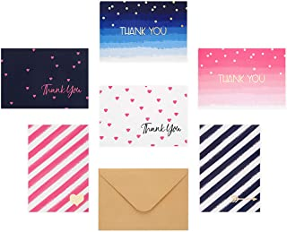 """Outshine 36 Blank Greeting Thank You Note Cards Blue & Pink Stripes Dots Ombre with Envelopes (6 Designs)   Bulk All Occasion Notecards   3.5"""" x 5"""" Cards for Thank You Notes, Wedding, Baby Shower"""
