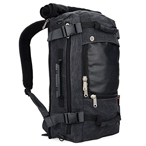 dcafec780a8e WITZMAN Men Travel Backpack Canvas Rucksack Vintage Duffel Bag 2012 (21  inch Canvas Black)