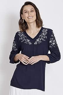 Rockmans 3/4 Sleeve Lurex Embroidered Blouse True Navy 16 - Womens