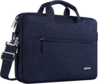 MOSISO Laptop Shoulder Bag Compatible with MacBook Pro 16 inch A2141, 15-15.6 inch MacBook Pro, Notebook, Polyester Messenger Carrying Briefcase Sleeve with Adjustable Depth at Bottom, Navy Blue