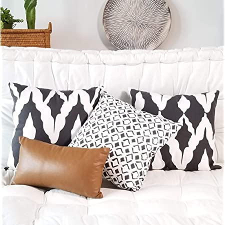 Throw Pillow Covers 18x18 Black And White Geometric Decorative Boho Throw Pillows Set Of 4 For A Modern Living Room Chic Accent 100 Cotton Faux Leather Lumbar Pillow For Couch