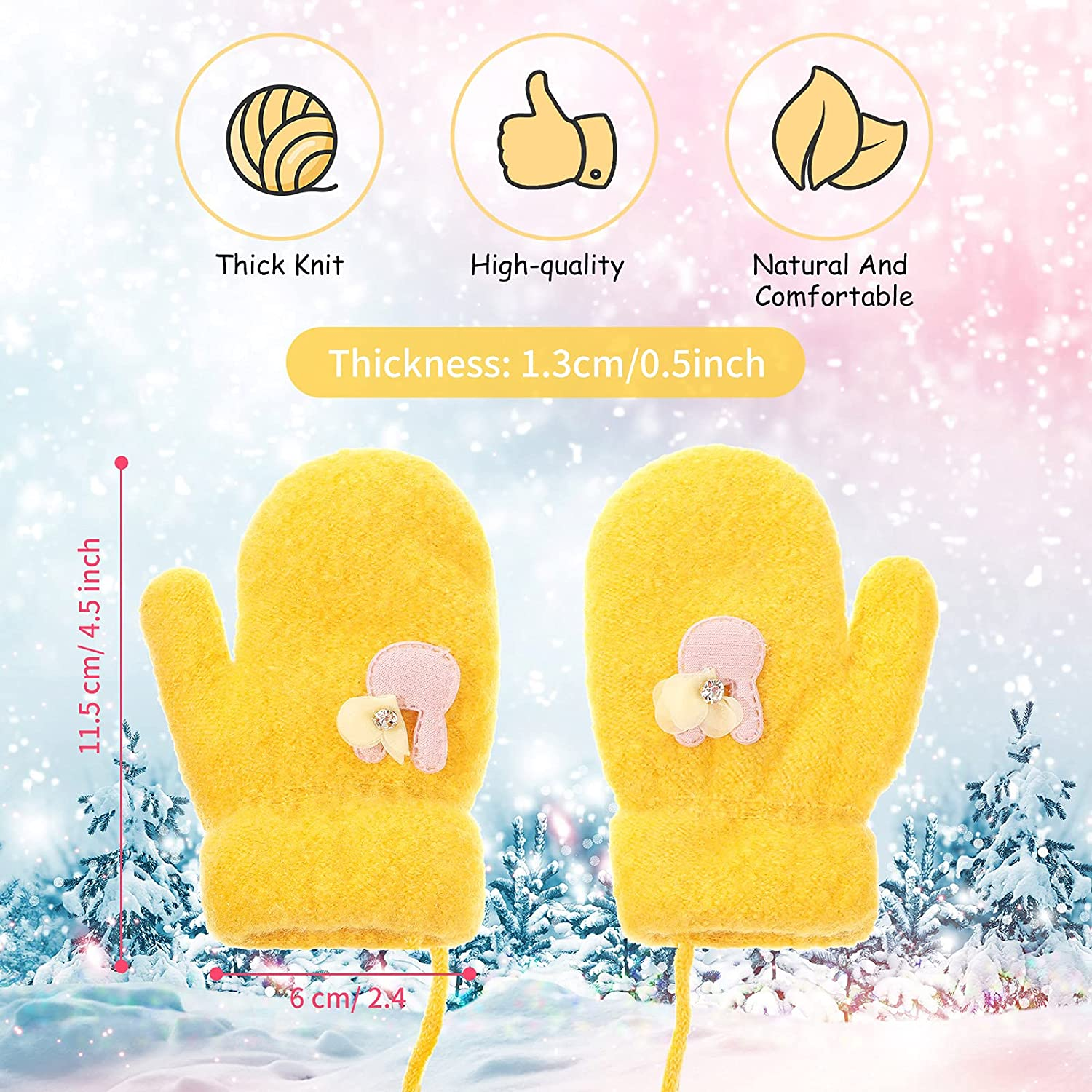 3 Pairs Toddler Full Finger Mittens Baby Winter Gloves Soft Fleece Lining Mitten Stretch Knitted Warm Gloves for Baby Girls Boys