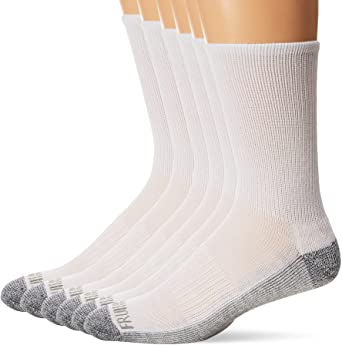 Fruit of the Loom mens Essential 6 Pair Pack Casual Socks With Cushion and Arch Support