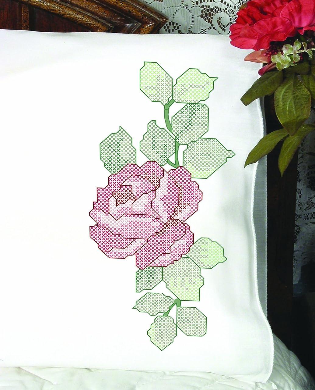 Fairway Needlecraft 83216 Cross Stitch Perle Edge Pillowcases, Large Rose Design, Standard, White