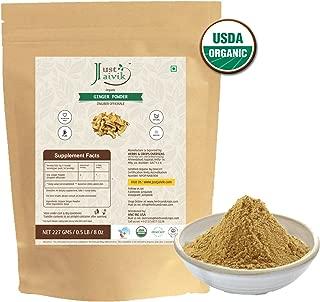 100% Organic Ginger Powder (0.5 lb / 227g / 08 oz) by Just Jaivik   Raw, Gluten-Free & Non-GMO - Certified Organic under NPOP and NOP Standards