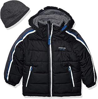 LONDON FOG Boys' Little Active Puffer Jacket Winter Coat, Super Black, 7