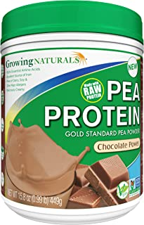 Growing Naturals Pea Protein Powder, Chocolate Power, Non-GMO, Vegan, Gluten-Free, 15.8 Ounce
