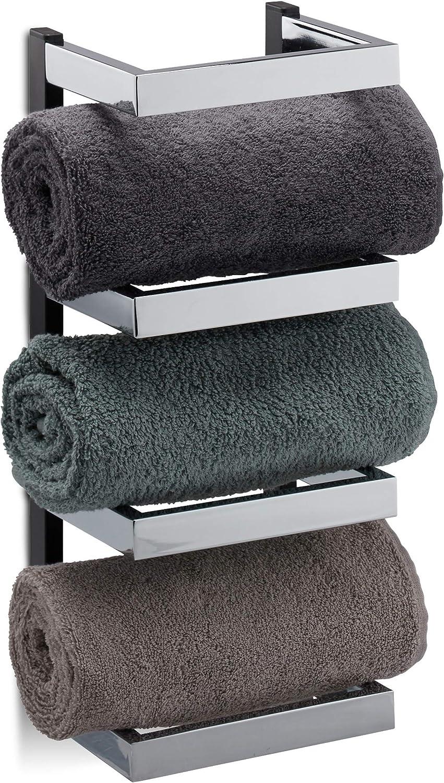 Relaxdays Handtuchregal Design, Fcher für Handtücher, Chrom, Handtuchablage hngend, HBT  44x18x16 cm, Silber schwarz