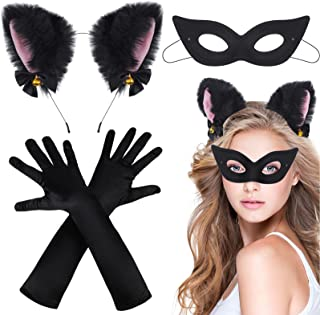3 Pieces Cat Cosplay Party Costume Accessories, Cat Ear Headband with Bells Cat Ears Headwear, Black Satin Gloves Long Ope...