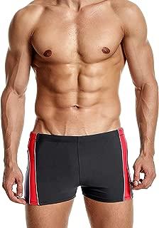 ATTRACO Mens Swim Boexer Briefs Square Leg Swimsuit Shorts Splice Low Waist