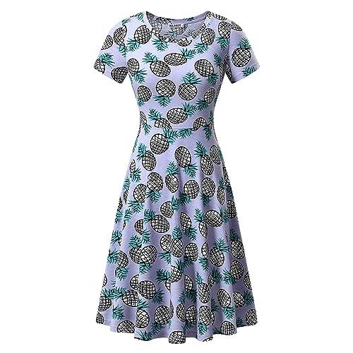 6c6614de74a1 HUHOT Women Short Sleeve Round Neck Summer Casual Flared Midi Dress