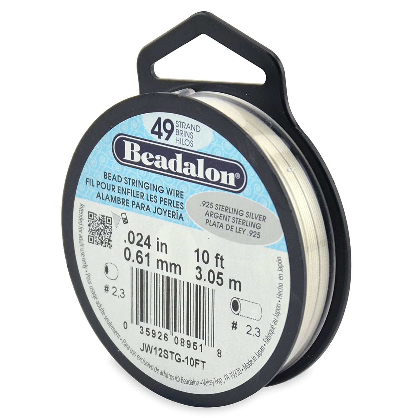 Beadalon 49-Strand Bead Stringing Wire, 0.024-Inch.925 Sterling Silver 10-Feet